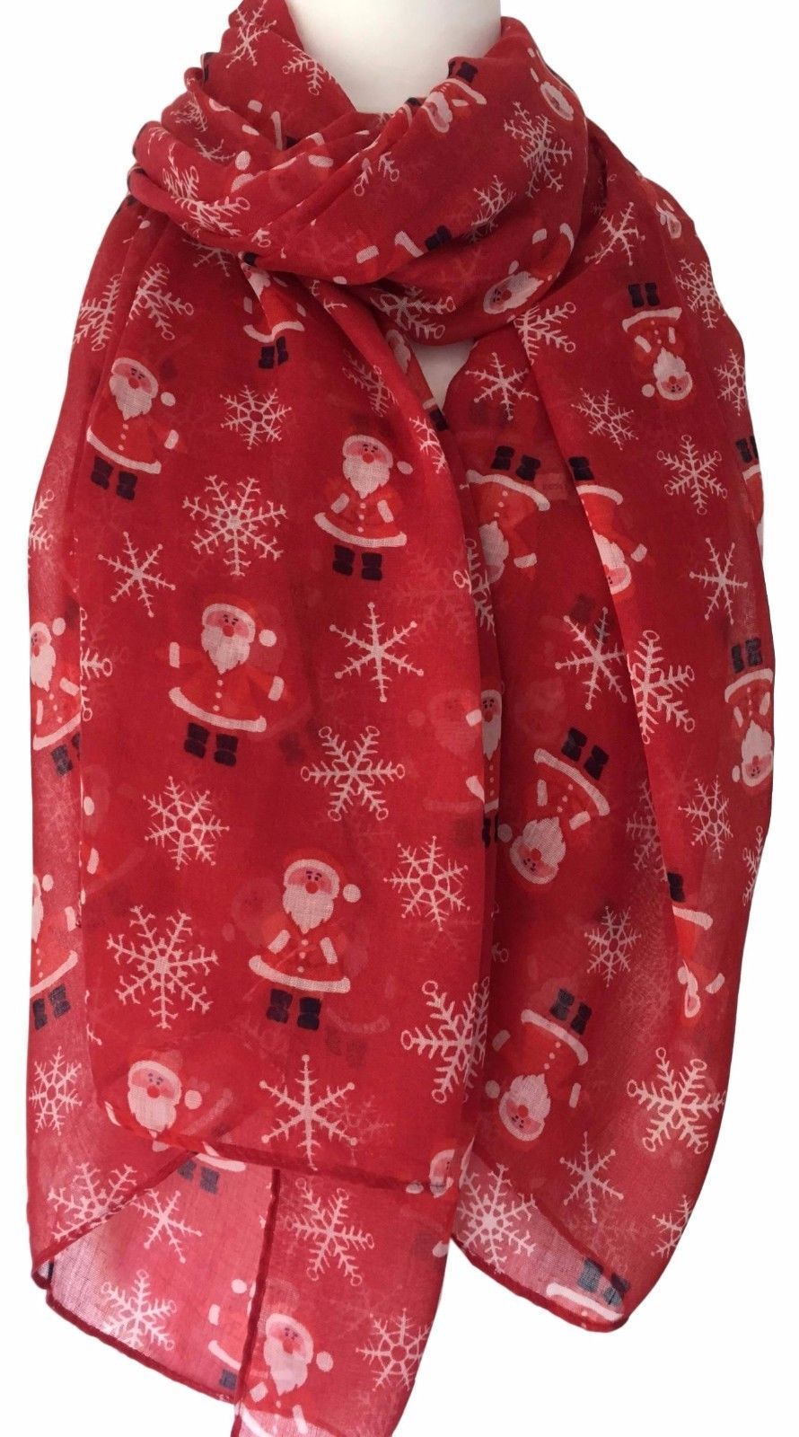 Christmas Scarf Ladies Red Father Christmas Shawl White
